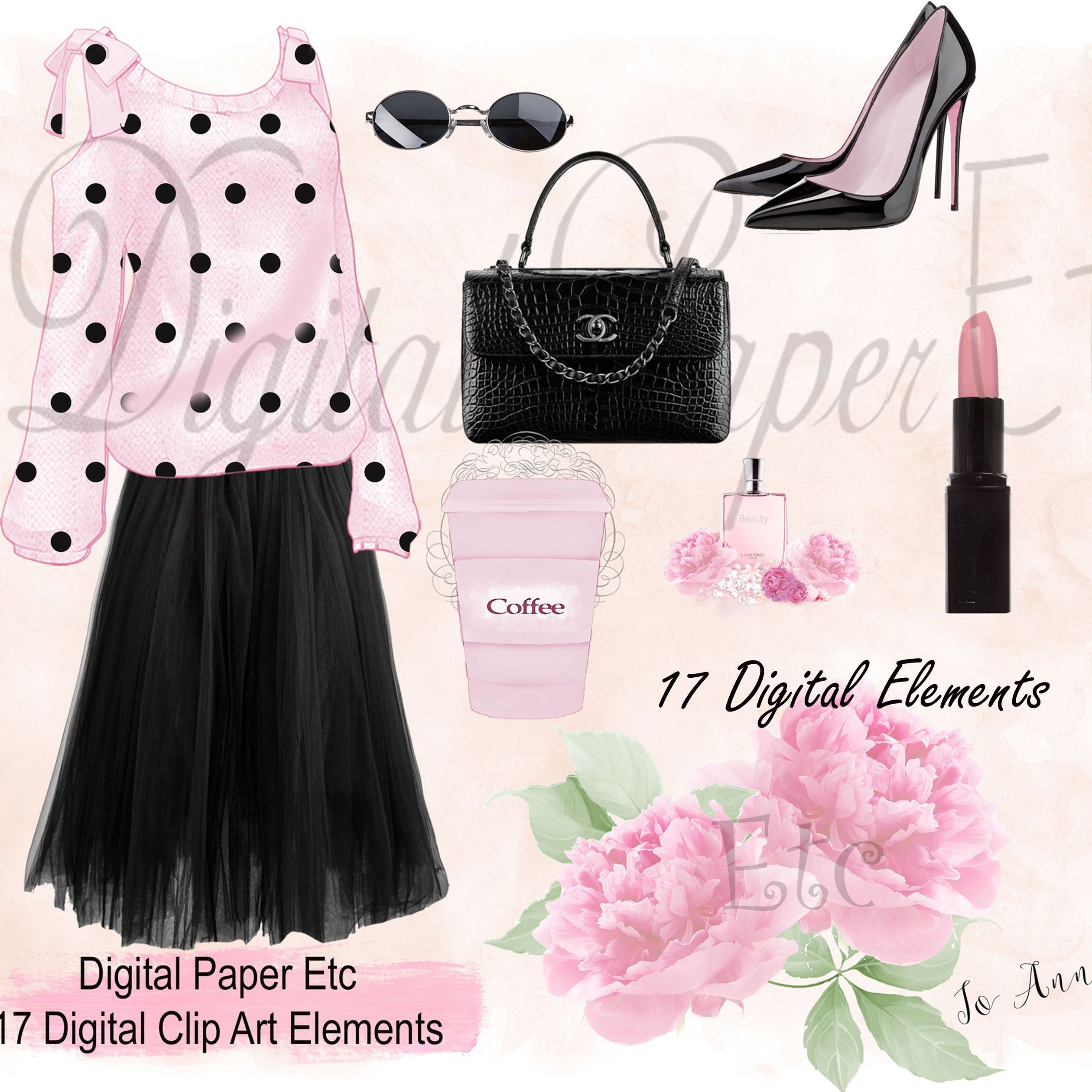 Digital Fashion Clip Art Blouse Skirt High Heel Shoes Perfume Floral Paste Pink Black Clip Art Coffee Cup Ribbon L Fashion Clipart Clip Art Fashion