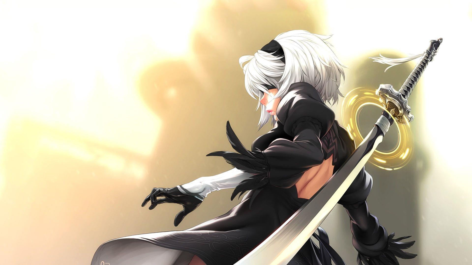 2B (Nier: Automata), white hair, short hair, Nier