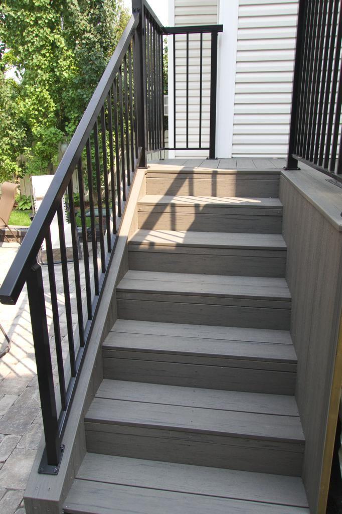 Decks Composite Deck Stairs With Black Aluminum Railings