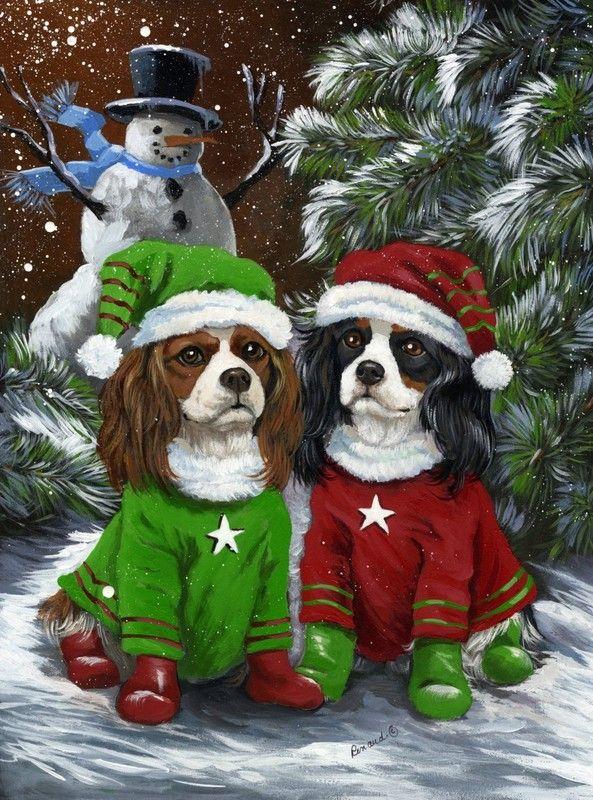 Trois Rois Cocker Spaniel Chiots-Carte de Noël