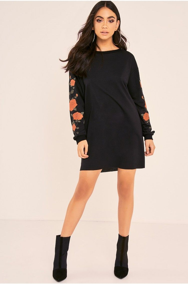 BINKY BLACK FLORAL EMBROIDERED OVERSIZED SWEATER DRESS | Clothes ...