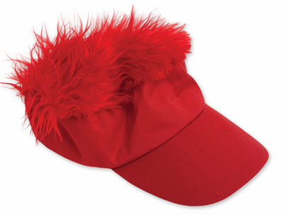 Wacky Red Visor With Red Hair  d9e8ed64b710