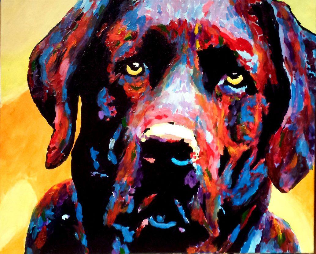 Blinde Man Maakt Schitterende Schilderijen Met De Mooiste Kleurpaletten With Images Blind Artist Detailed Paintings Dog Portraits