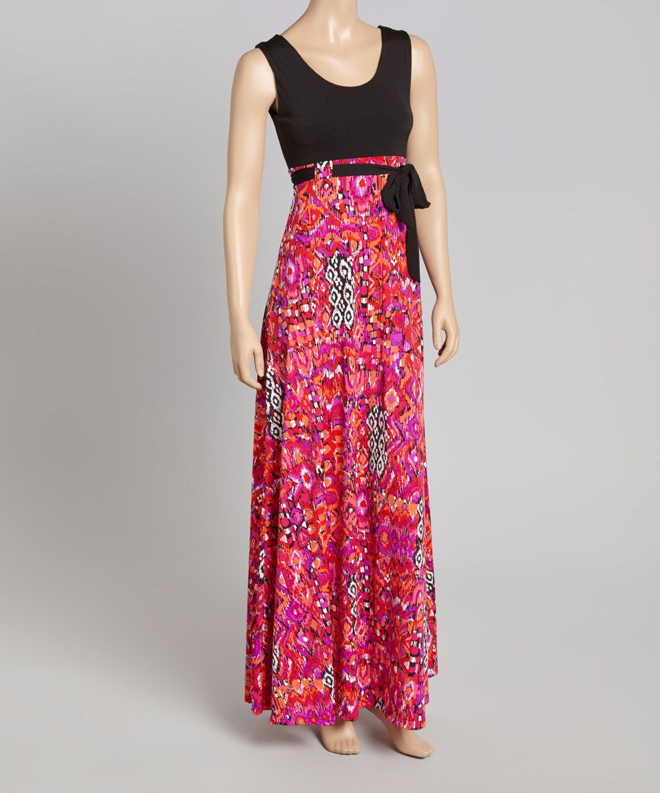 Orange u pink ikat tiewaist maxi dress by glam zulily zulilyfinds