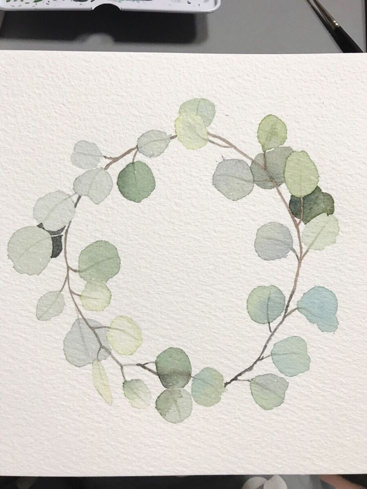 Photo of Green watercolor wreath