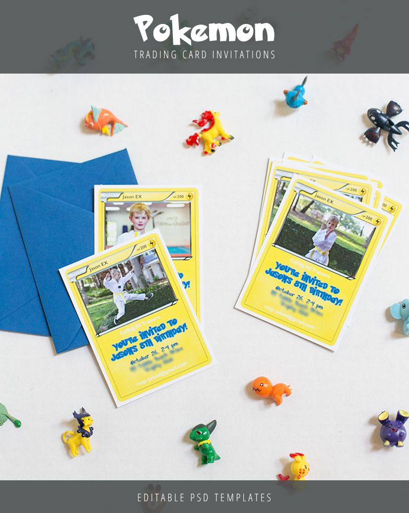 Create Pokemon Trading Card birthday invitations for your childu0027s birthday  These templates front and