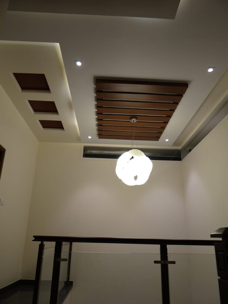 Double Height Lobby Ceiling Modern Corridor Hallway Stairs By | Ceiling Design For Stairs Area | Stairwell | Accent Lighting | Cake Shop | Cafeteria | L Shape