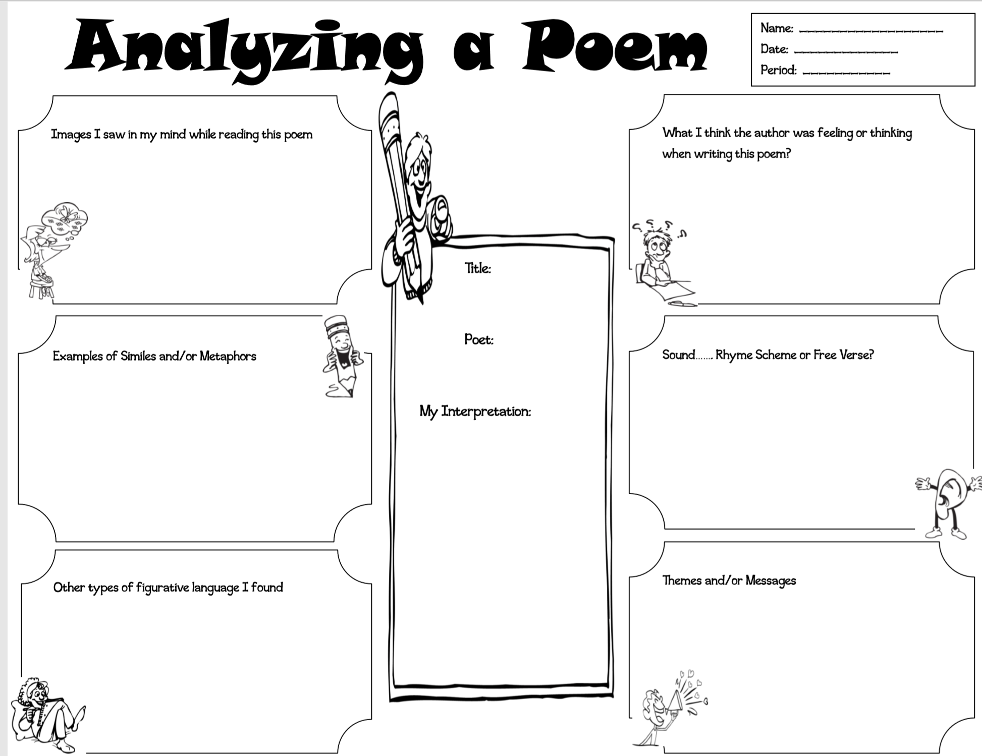 Analyzing A Poem Is A Graphic Organizer For Students To Use When Reading A Poem Poetry Teaching Resources Poetry Lessons Teaching Poetry [ 1499 x 1946 Pixel ]