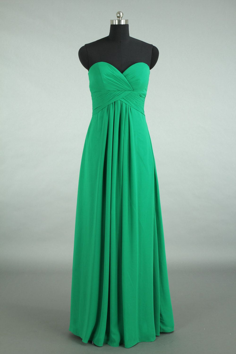 Long Coral Chiffon Bridesmaid Dress Green Sweetheart by DressbLee, $109.00usd 123cad wendy
