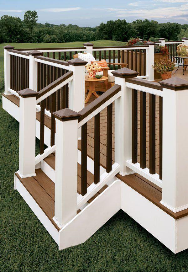 I Like The Two Tone Railing Backyard Building A Deck