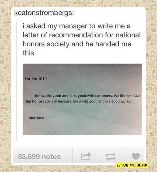 Never asking my boss for a letter of recommendation againu2026 Humor - recommendation letters