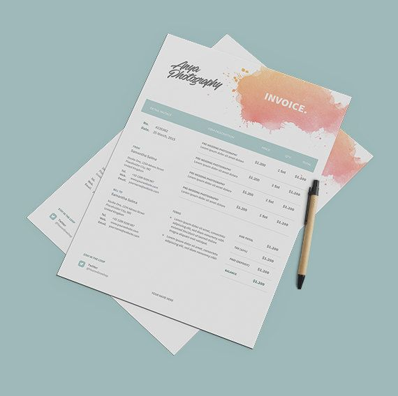 Creative Invoice Template Instant Download  Receipt Template