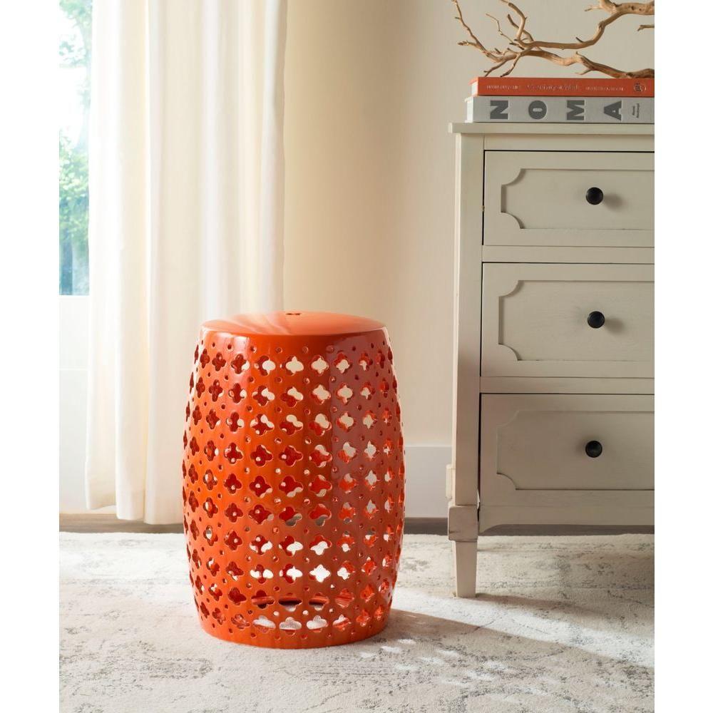Safavieh Lacey Orange Patio Stool Products Ceramic