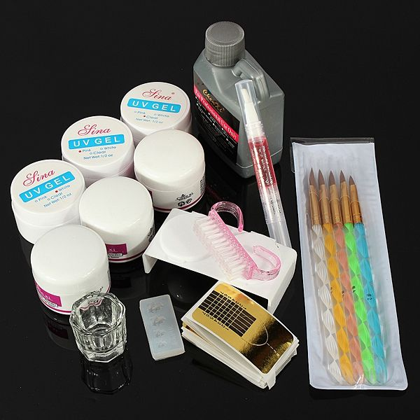 Nail Art Acrylic UV Gel Brushes Pen Manicure Tool Kit Set | Health ...