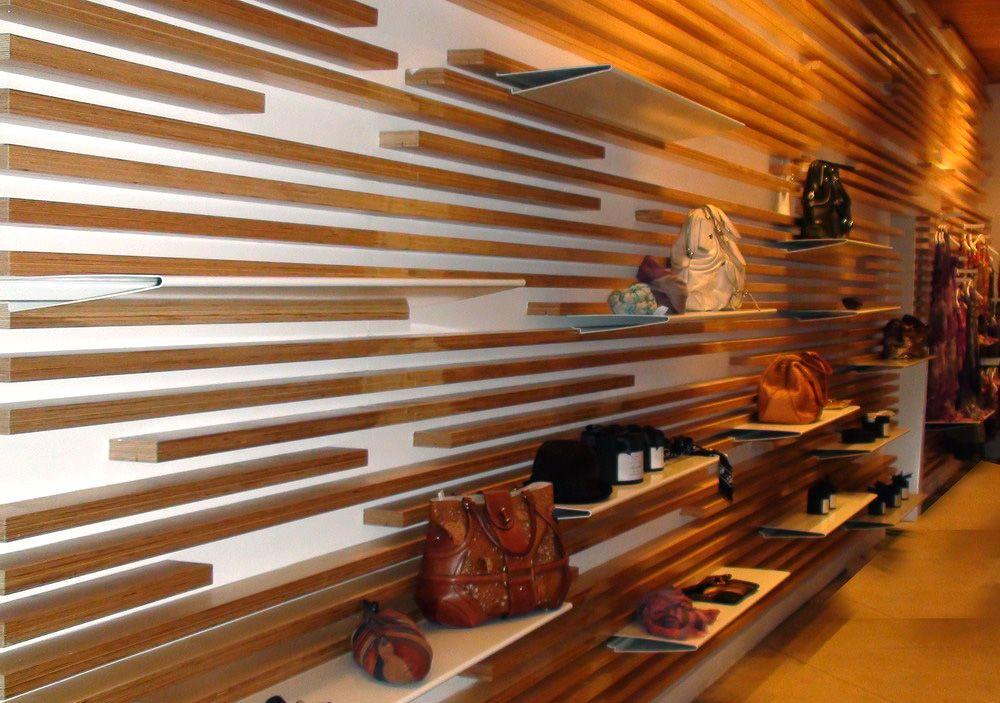 wood slat wallpaper wall design shelves designed developed dynamic shelving display system sq atrium store new york utilizing