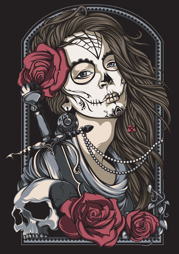 Spanish Skull Girl By Shulyak Brothers Calaveras Art Skull Art Creature Art