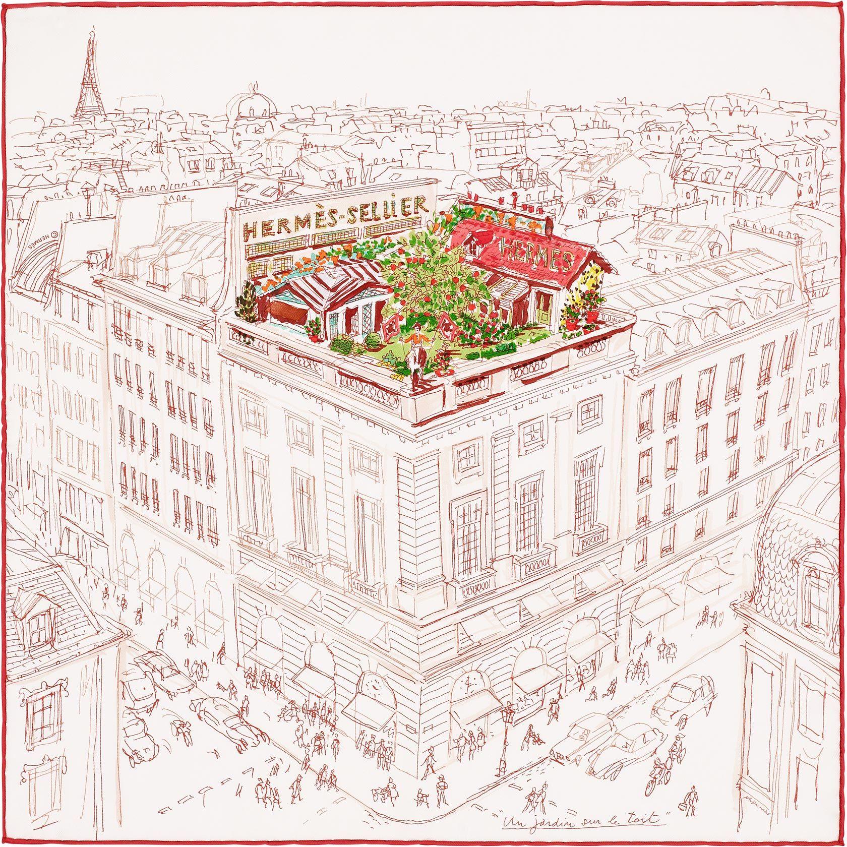 Pocket Square Hermes Un Jardin Sur Le Toit Jardin Sur Le Toit