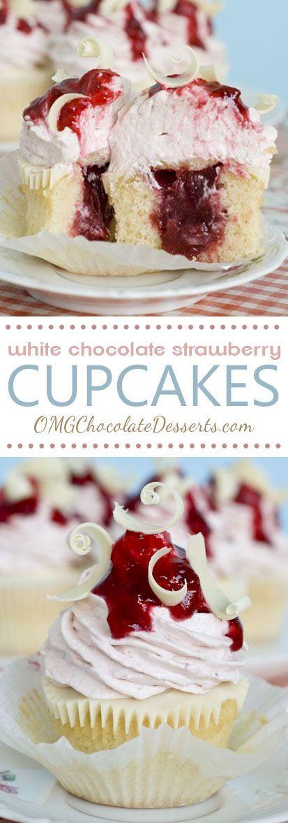 Weiße Schokoladen-Erdbeerkleine kuchen #lemoncreamcheesefrosting