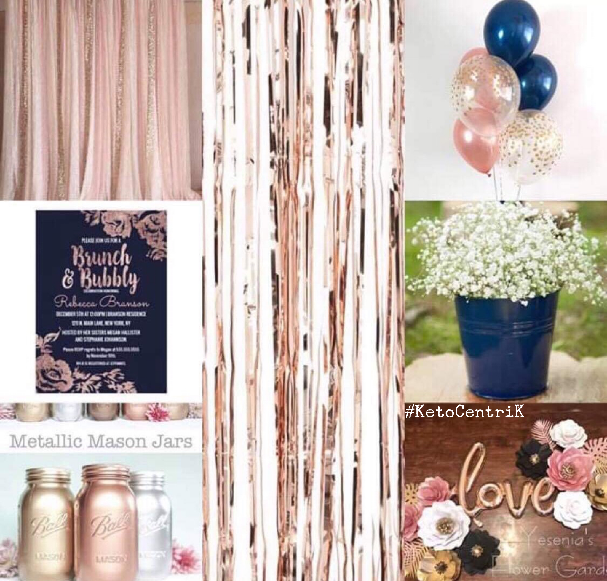 Rose Gold Navy Bridal Shower Theme Ideas Rose Gold Bridal Shower Rose Gold Bridal Shower Decor Tea Party Bridal Shower