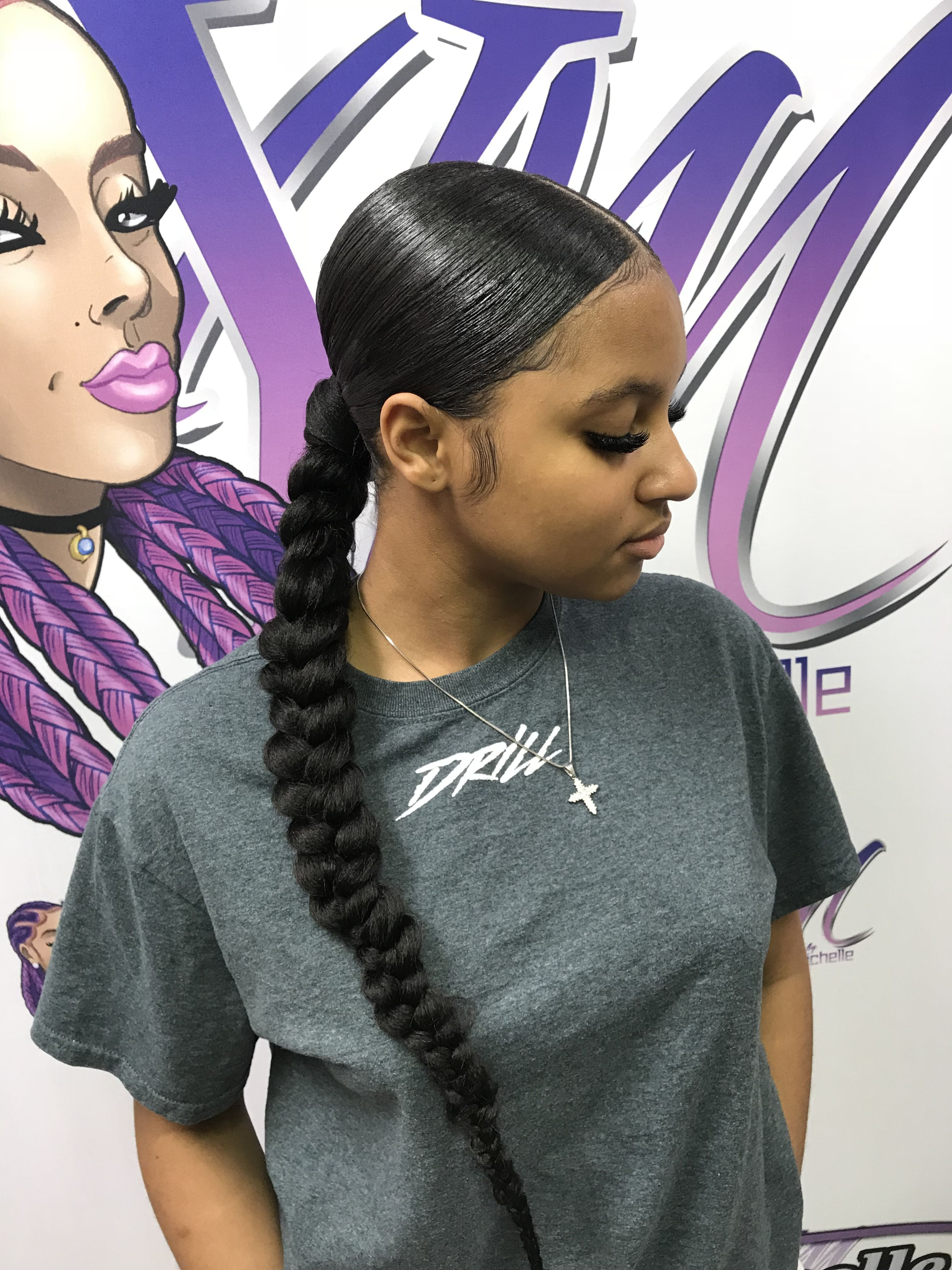 Low Ponytail One Braid Sleek Braided Ponytail Black Ponytail Hairstyles Hair Styles