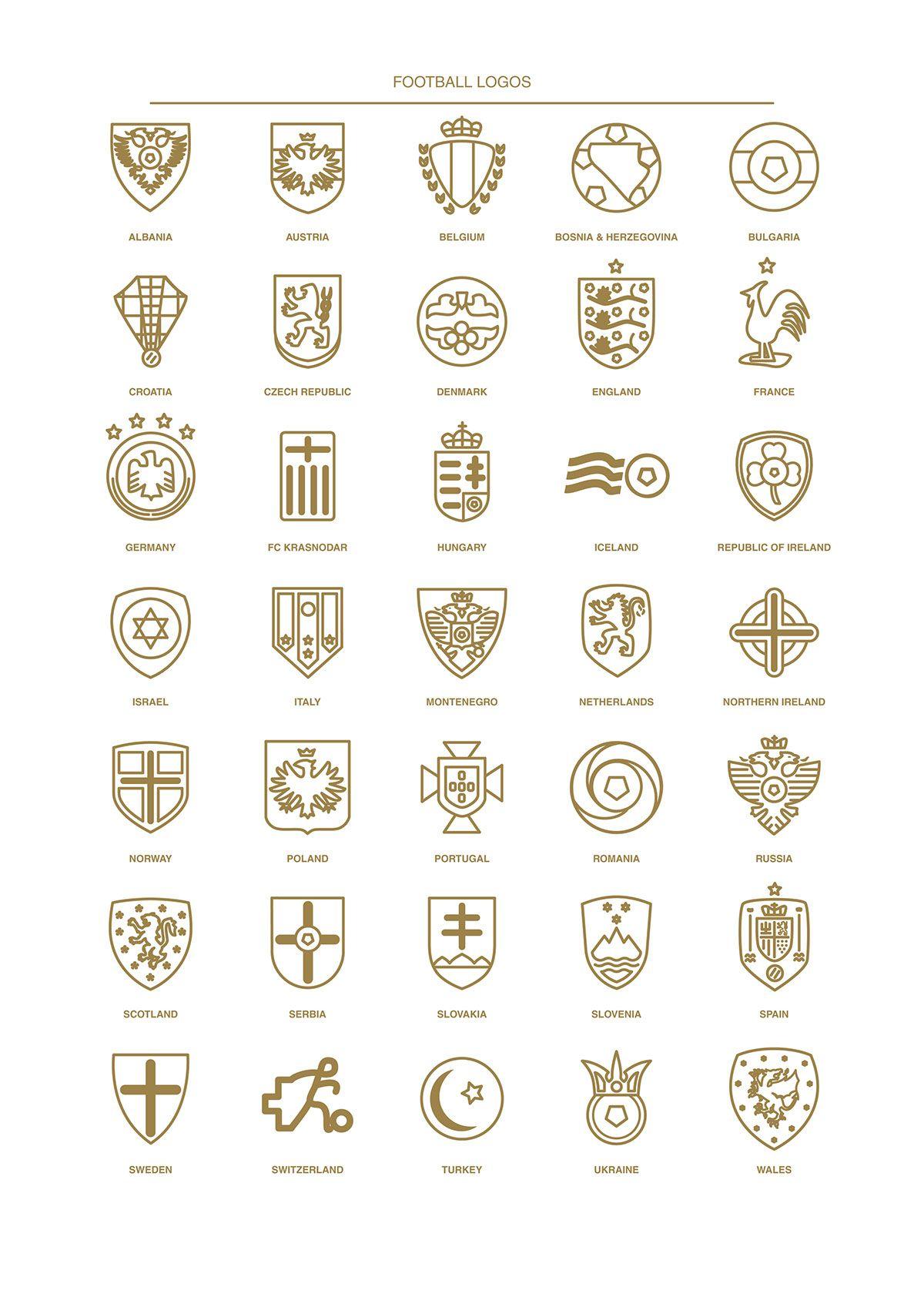 Football Logos 2016 on Behance | Minimal Football Logos ...