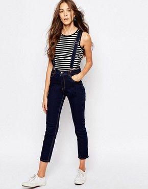 Pull Bear Skinny Suspenders Jeans At Asos Com Suspenders For Women Suspender Jeans Suspenders Outfit