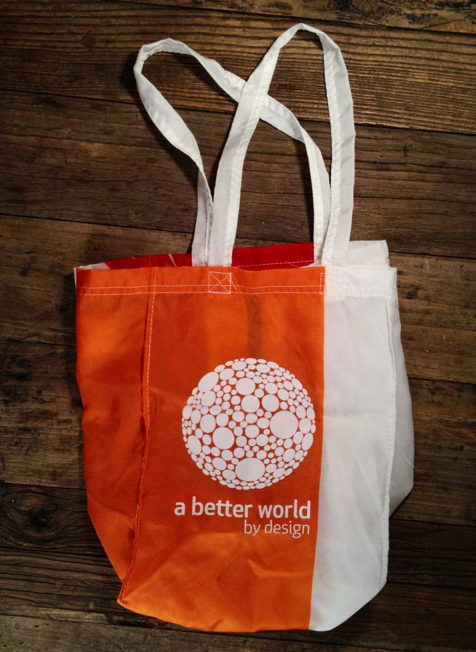 GOOD #05 #BetterWorldbyDesign Tote Bag    Banner bag made of recycled advertising banners/surplus materials. I personally don't do #dots. And I'm not talking about just any dots, I mean dots in close proximity to each other (yes, like the way they appear on the bag). Yes, I have this unusual dot phobia or this phobia of things 'clumped' together. So, out of fear and to drive efforts in building a better world, I'm donating this banner bag to affect some #fearless change.