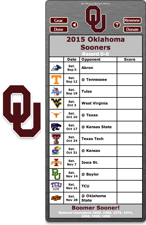 2015 Oklahoma Sooners Football Schedule Dashboard Widget