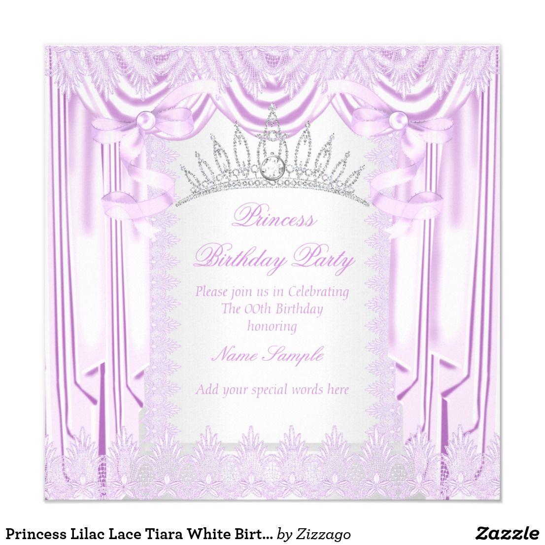 Princess Lilac Lace Tiara White Birthday Party Card Elegant Princess ...