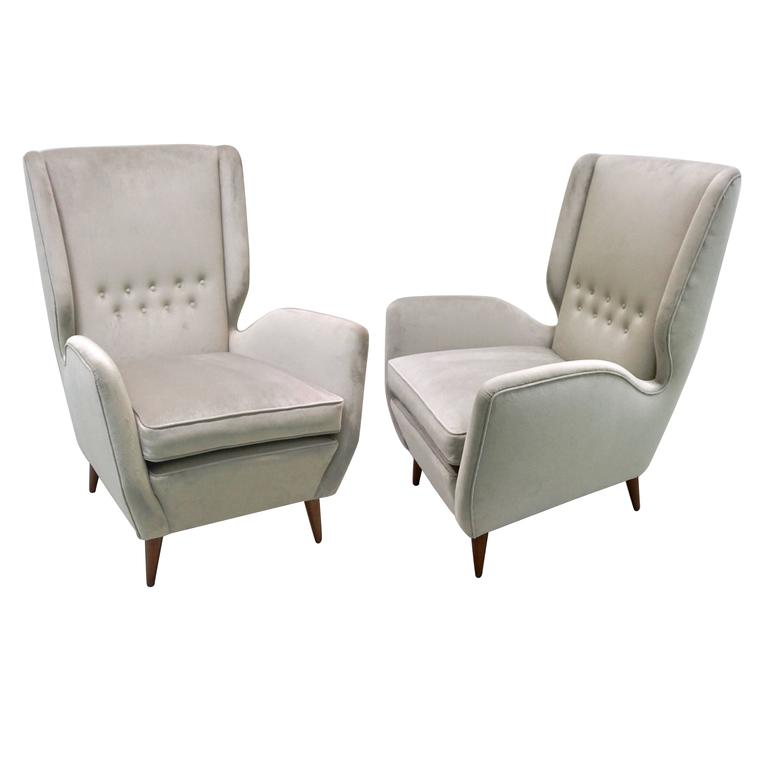 Gio Ponti 1940s Vintage Italian Pair Of High Back Armchairs In