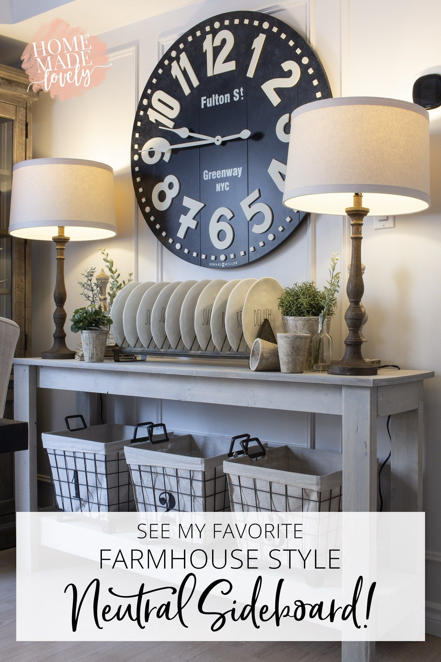 See My Favorite Farmhouse Style Neutral Sideboard Table Top Decor Dining Room Decor Home Decor