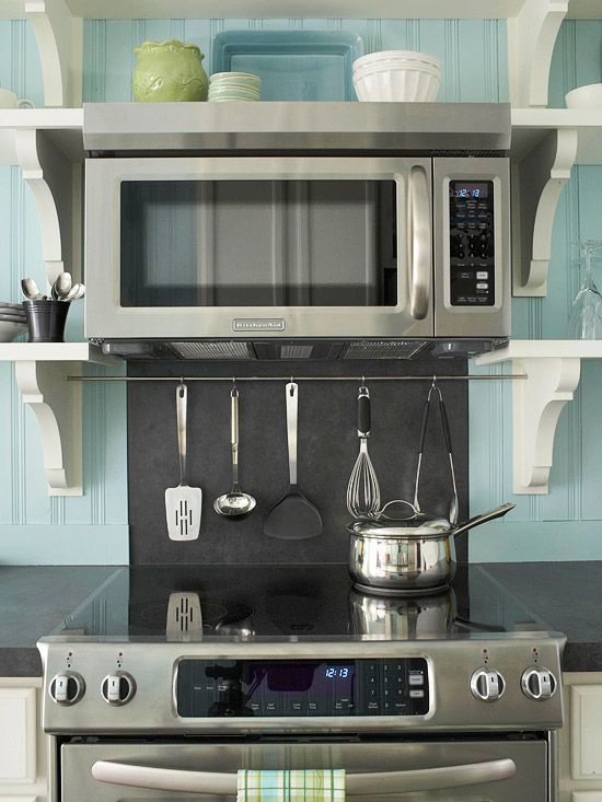 image result for microwave shelf above stove - Above Stove Microwave