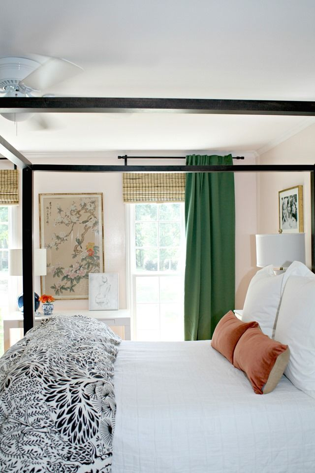 Delicieux Green, IKEA, Curtains, Blush, Pink, Walls, Master, Bedroom, Bamboo Shades,  Chinoiserie Artwork, White Bedding, Canopy Bed