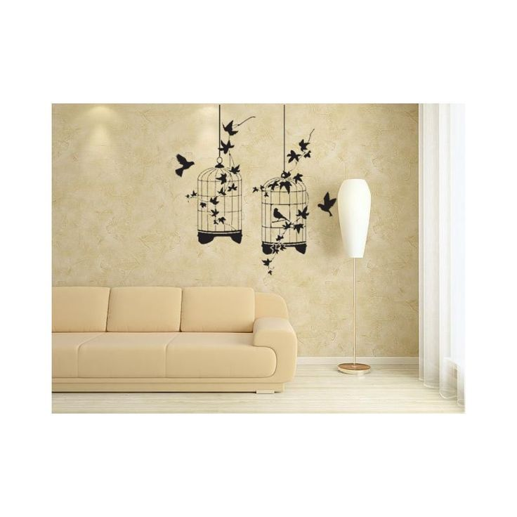 Birds and cages, wild animals wall decal. Painting stencil. | Bird ...