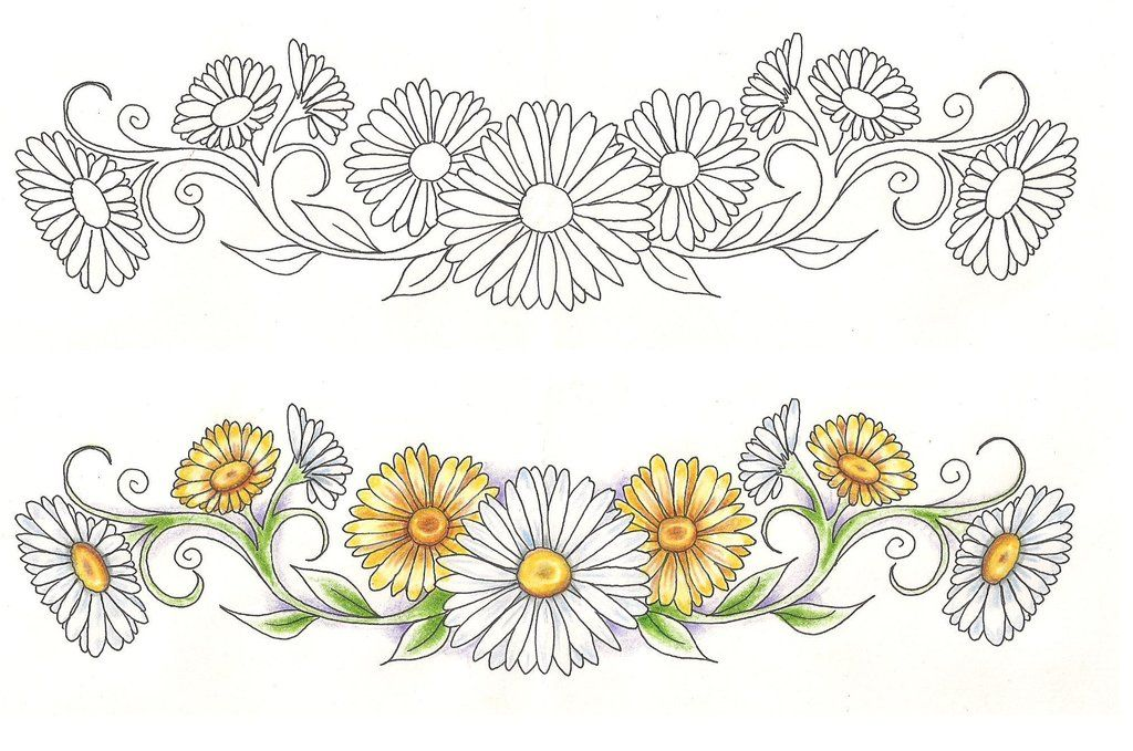 Freebies Tattoo Designs LowerBack Daisies by TattooSavage