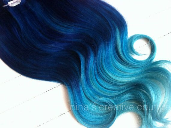 Cobalt blue ombre hair extensions mermaid by ninascreativecouture cobalt blue ombre hair extensions mermaid hair clip by studioshe pmusecretfo Choice Image