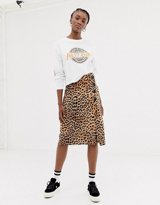 clear-cut texture popular stores special sales New Look animal print button through skirt in leopard in ...