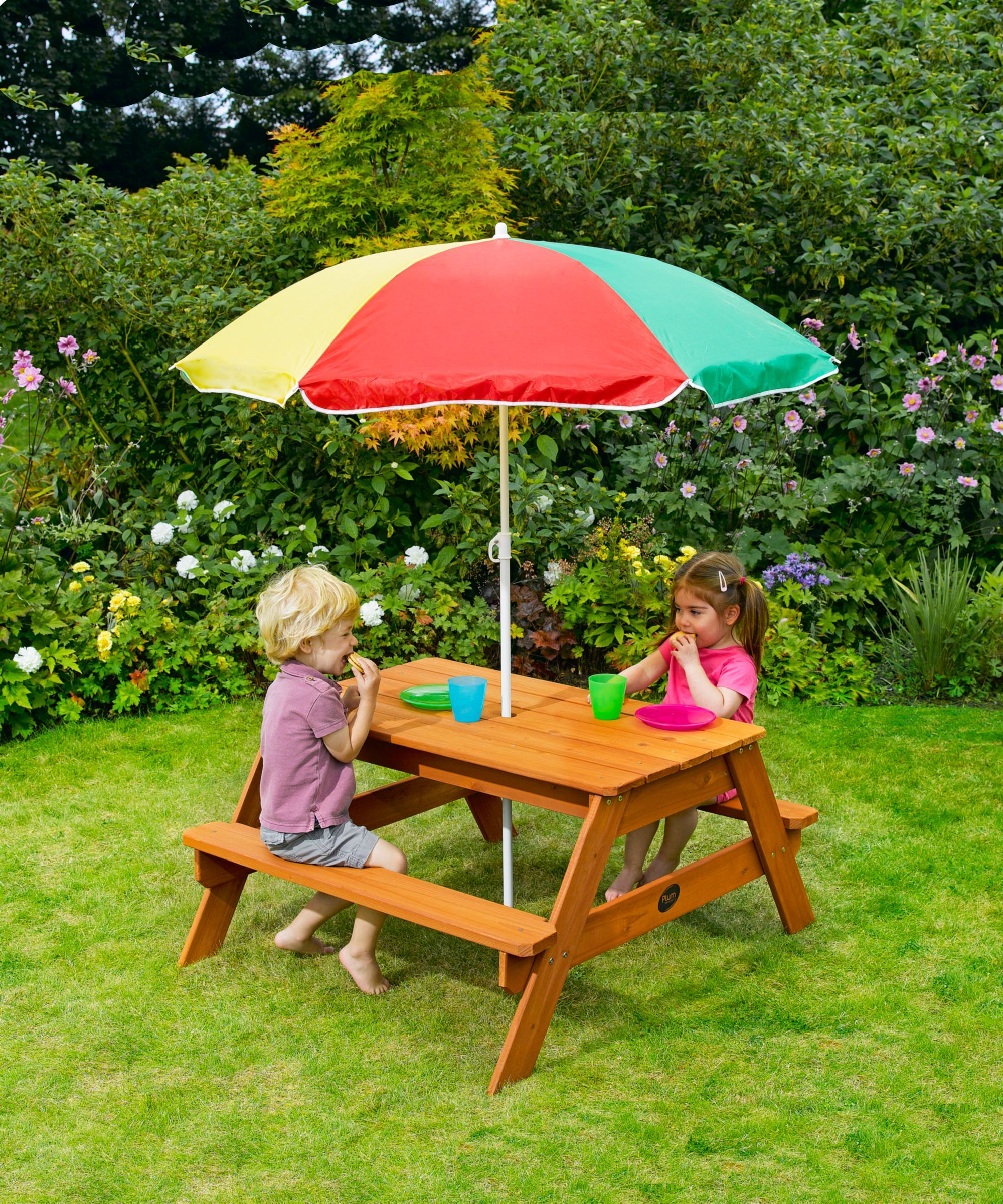 Childrens Picnic Table And Parasol ELC κIdЅ Outdoor Play - Picnic table parasol