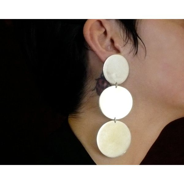 handmade sterling silver earrings disks (220 BGN) ❤ liked on Polyvore featuring jewelry and earrings
