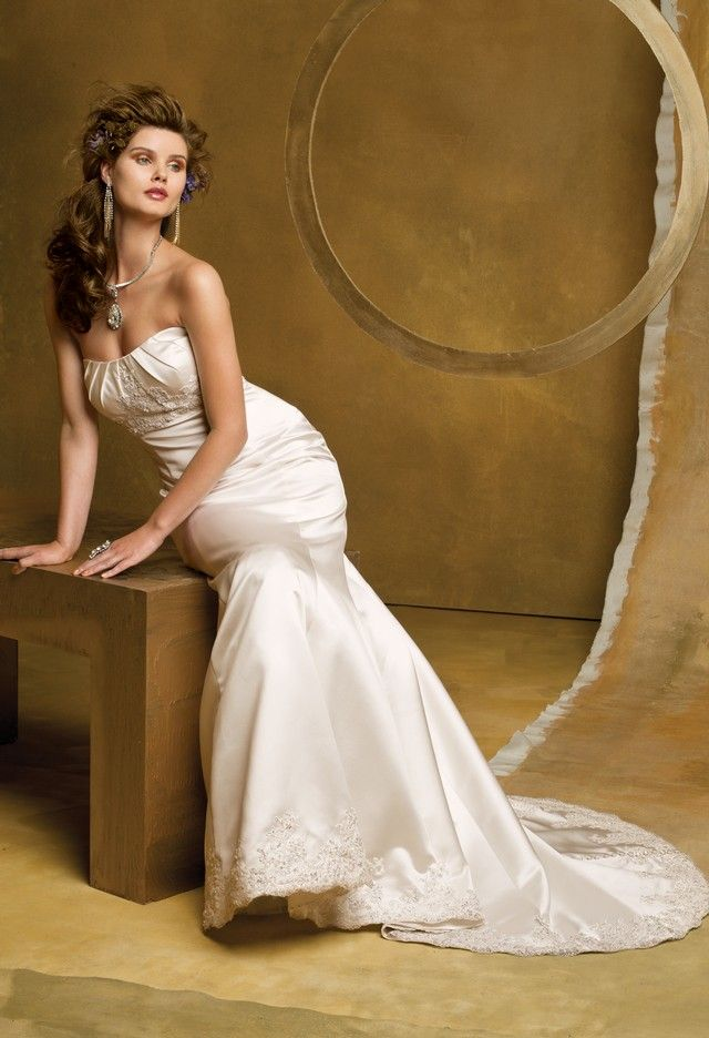Wedding Dresses - Satin Mermaid Wedding Dress with Beaded Lace from ...