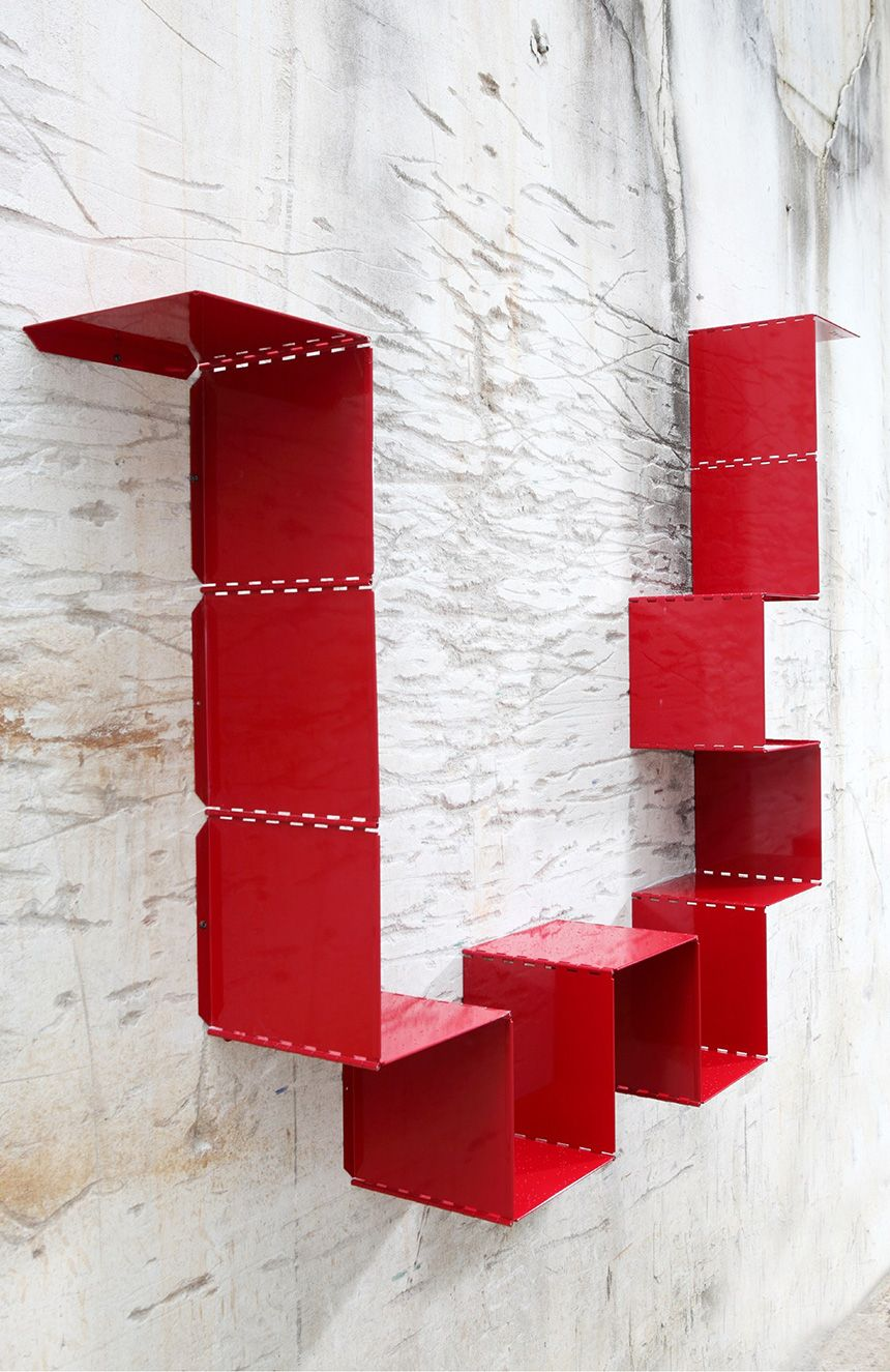 Wondrous 3 Modern Red Metal Bookshelves Furniture Metal Bookcase Interior Design Ideas Clesiryabchikinfo