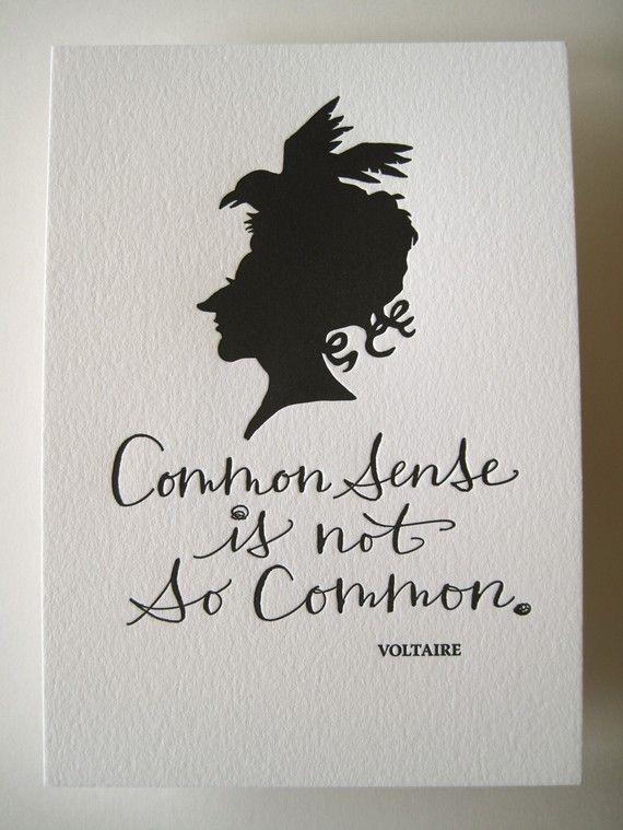 Letterpress Art Print Common Sense Is Not So Common Voltaire Words Letterpress Art Print Inspirational Words