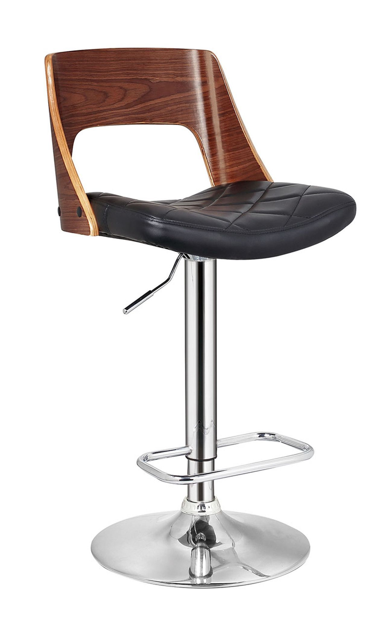 Stylish Wood Back Adjustable Swivel Barstool With Diamond Quilted