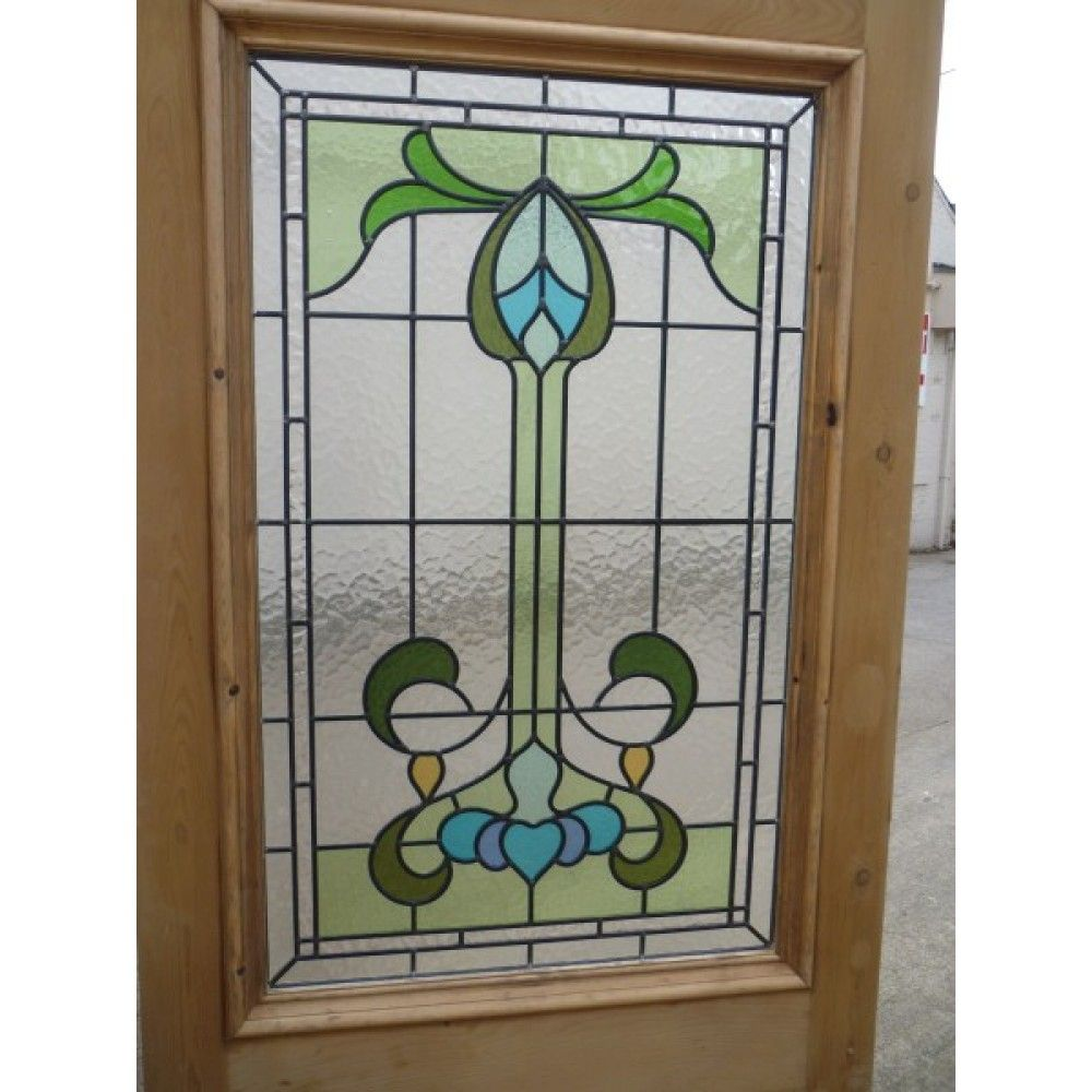 Victorian edwardian original stained glass exterior door for Glass panel external doors