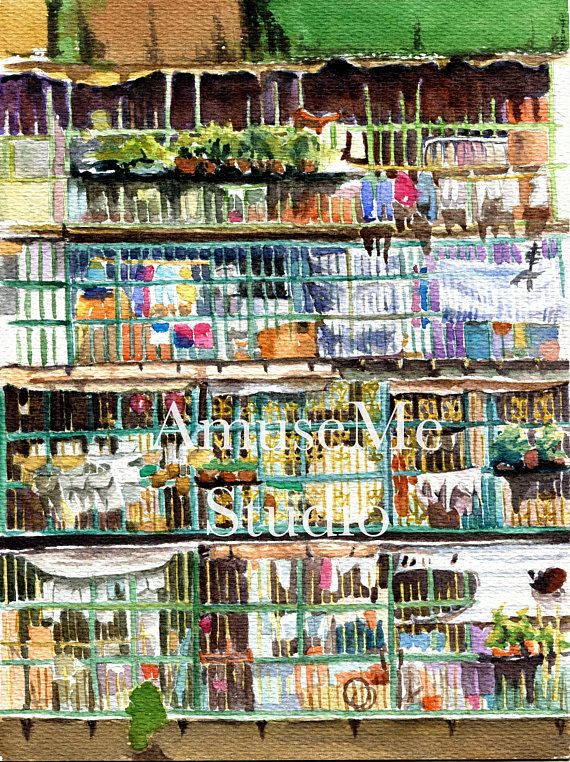 The old days of Kowloon Walled City of Hong Kong  Giclee