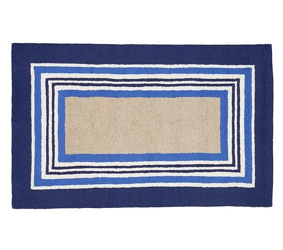 Tailored Striped Rug Blue Striped Rug Rugs Blue Pottery
