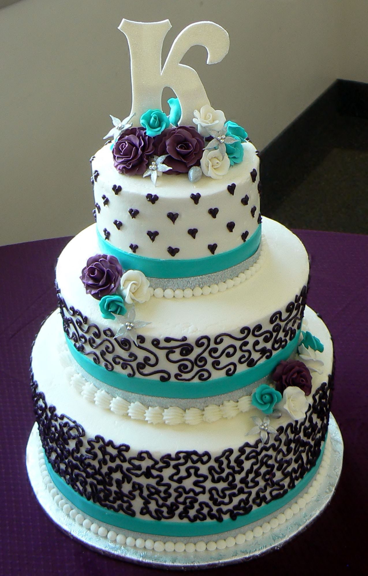 aqua and purple wedding Aqua and Purple Wedding Cake