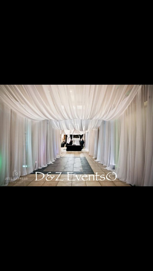 Pipe And Drape Tunnel Entrance For Wedding Show With Uplights And
