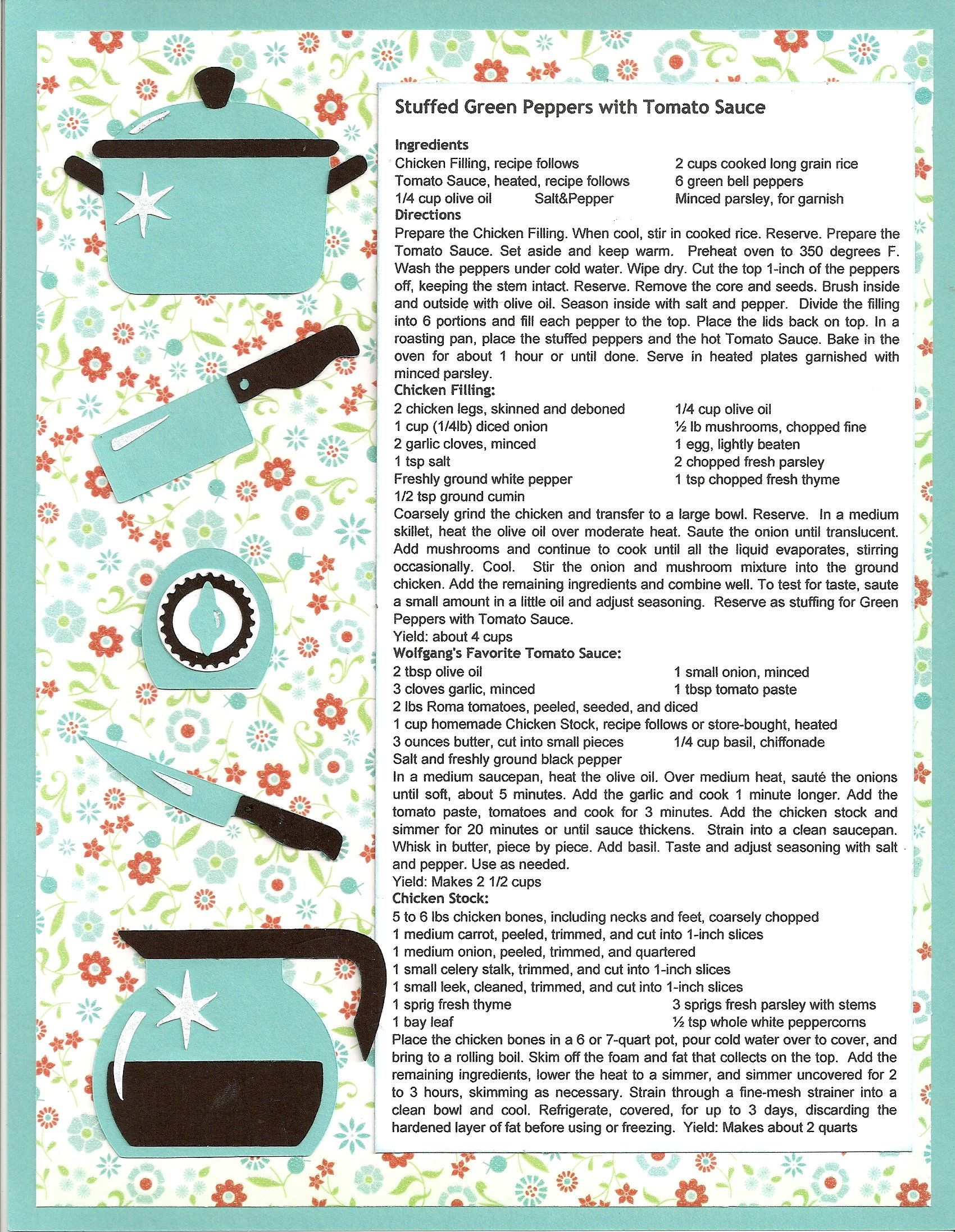 How to scrapbook recipes ideas - Stuffed Green Peppers With Tomato Sauce Recipe Scrapbooking Layou I Love The Simplicity Of This Layout