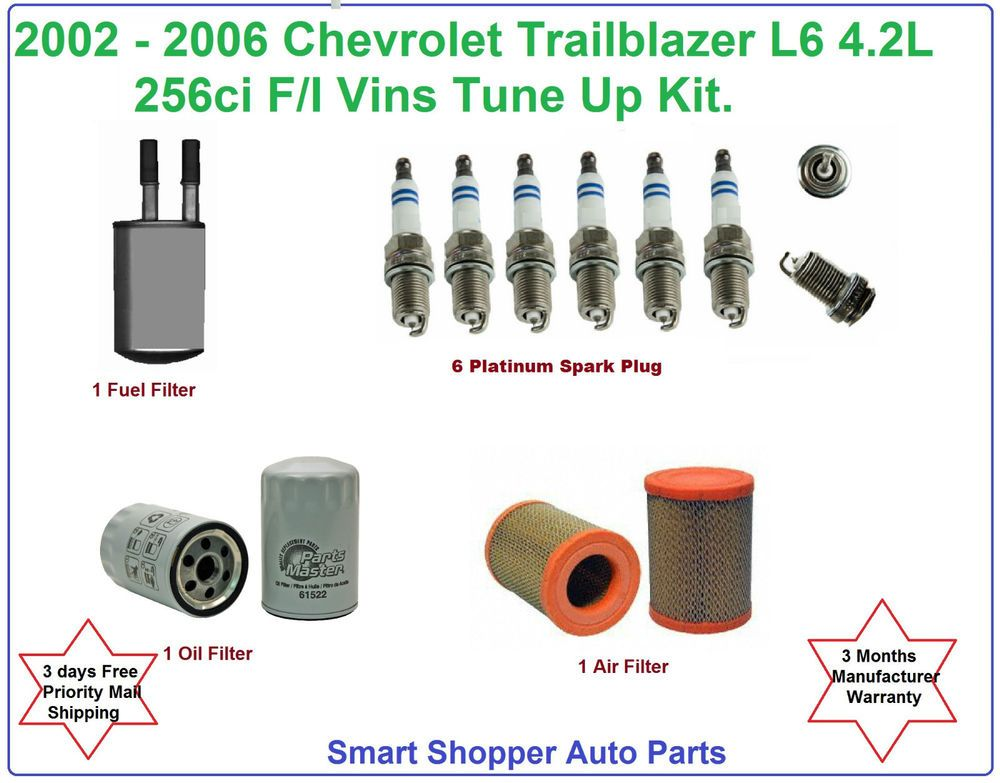 2002 2006 Chevrolet Trailblazer Tune Up Kit Spark Plug Air Oil Fuel Filter Chevrolet Trailblazer Spark Plug Plugs